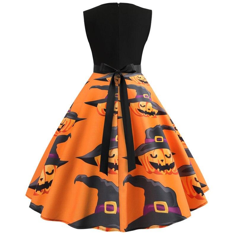 Halloween Vintage Dress Women Pumpkin Print Patchwork Midi Autumn Winter Dresses Long Sleeve Elegant Party Dress Plus Size 4