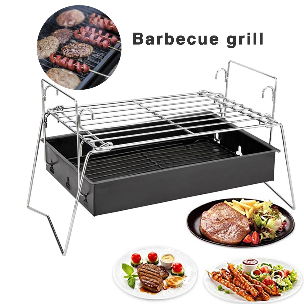 Wild camping picnic Portable Folding Charcoal Grill Adjustable Outdoor Camping BBQ Grill Suitable For 3 5 People