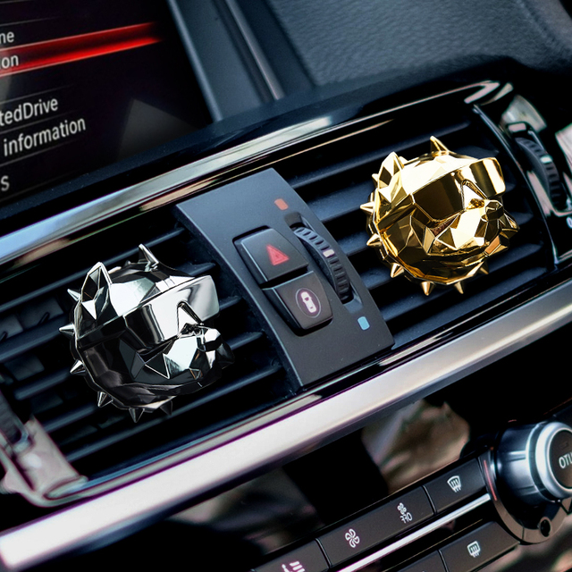 2Pcs Bulldog Car Perfume Fragrance Diffuser air fresheners with Magnet Clip Auto Vents Scent Parfume Gift Box Car Decor 5