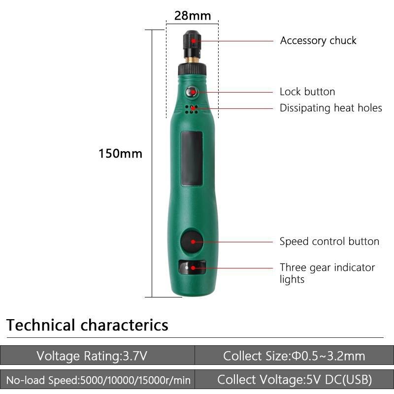 TPFOCUS Perceuse Électrique Set D'affûtage Kit 3.6V DC Broyeur Fraisage Polissage Gravure Outil Perceuse Stylo Graveur Rectifieuse