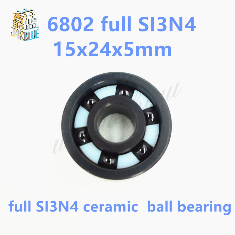 Free shipping 6802 full SI3N4 ceramic deep groove ball bearing 15x24x5mm free shipping 6806 full si3n4 p5 abec5 ceramic deep groove ball bearing 30x42x7mm 61806 full complement
