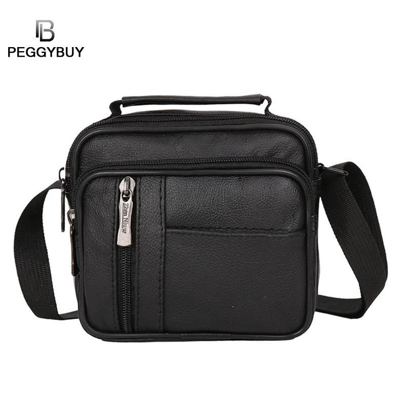 Small PU Leather Men Messenger Bag Casual Solid Color Crossbody Business Handbag Multifunction Teenerger Travel Shoulder Bag