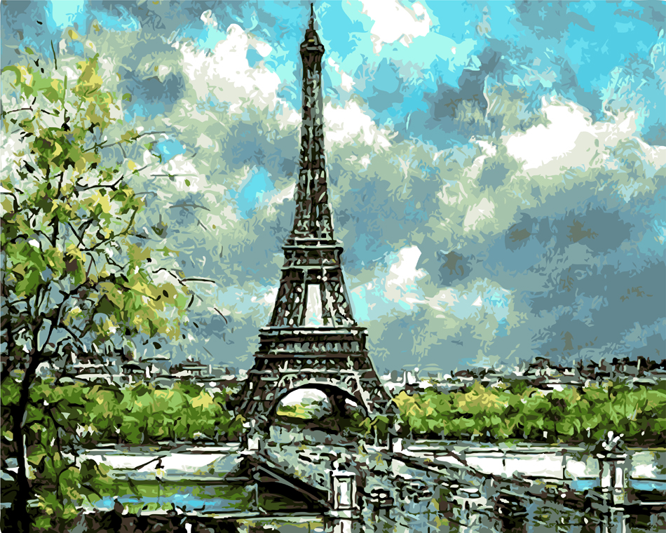 Paris spring landscape morning living room office decor hand paint oil Painting pictures By Numbers Drawing by number DIY poster