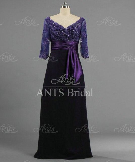 E1564 Women V neck 3 4 Sleeve Beaded Long Chiffon Lace Deep Purple ...