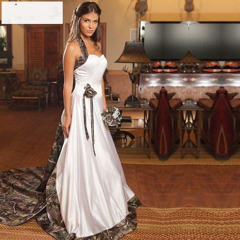 48f467ac9c4 New Arrival Halter Camo Wedding Dresses Detachable Court Train White Camo  Wedding Gowns Satin 2017 Custom made Bridal Dress