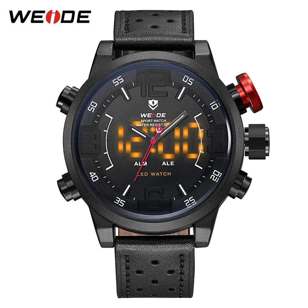WEIDE décontracté Sport Quartz LED affichage montres Top marque de luxe en cuir véritable bracelet militaire armée montre poignet homme horloge