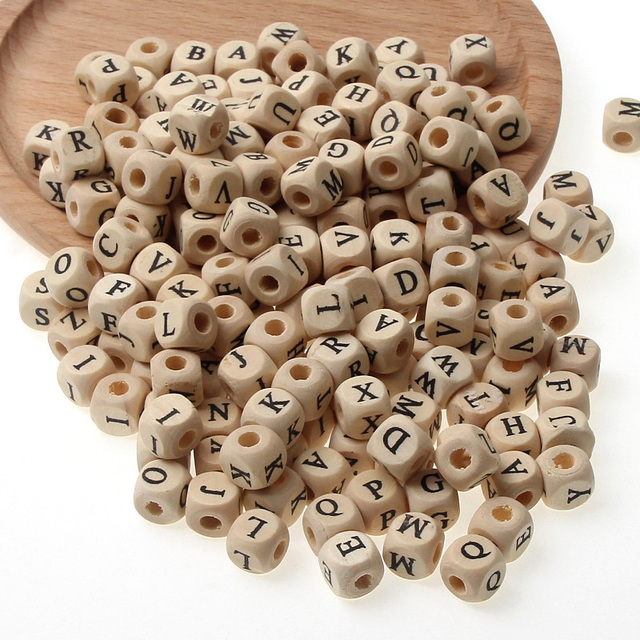DIY Square Letter Alphabet Natural Wooden Beads For Creative Name Jewelry Making Necklace Spacer Beaded 50PCS 10/12MM