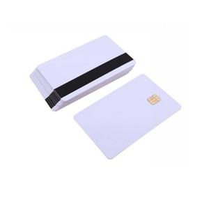 Image 3 - 5 шт/10 шт Белая пустая ПВХ Контактная смарт карта IC с 4442 чипом + магнитной полосой 3 треков HiCo