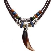 цена на Hot Men Women Jewelry Ivory Necklace Ox Horn Pendant Necklace Boho Bohemian Style Vintage Leather Woven Pendent Necklace 2016