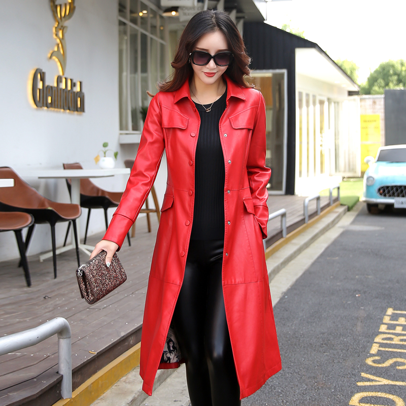 Couverts Femelle Vert rouge Simples Armée Manteau Tour Survêtement Rouge army Green Mode Bouton Taille Cuir De M En Noir Noir 5xl Veste Grande Longue Femmes Col gwqCRwZ0