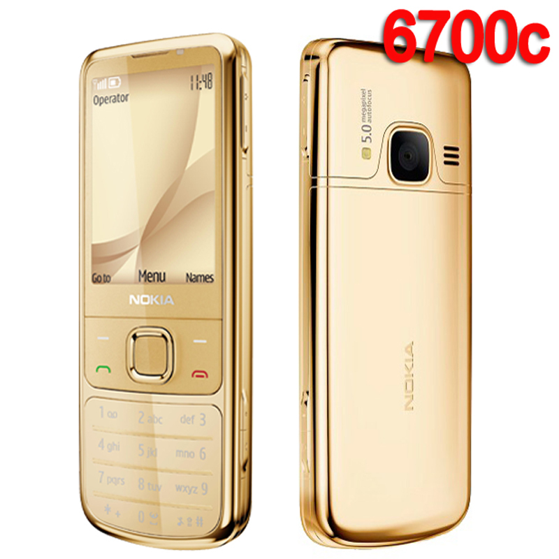 Refurbished NOKIA 6700c Mobile Phone 6700 Classic Cellphone Gold 3G GSM Unlocked Russian keyboard
