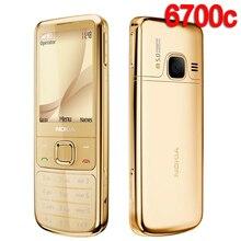 Nokia 6700c remodelado, telefone celular, 6700 clássico, ouro, 3g, gsm, desbloqueado, teclado russo