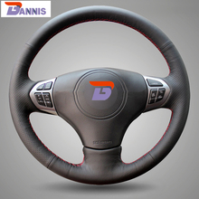 BANNIS Black Artificial Leather DIY Hand-stitched Steering Wheel Cover for Suzuki Grand Vitara 2007-2013