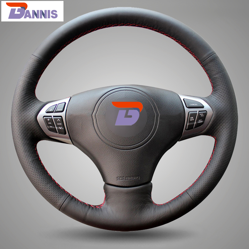Black Artificial Leather DIY Hand Stitched Steering Wheel Cover For Suzuki Grand Vitara 2007 2013