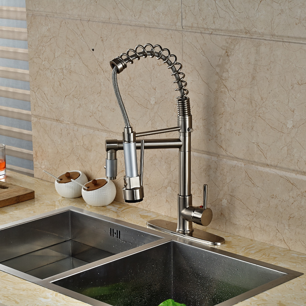 Nickel Brushed Kitchen Faucet Dual Spouts Spring Vessel Mixer Tap + 10 cover Plate luxury solid brass kitchen faucet dual spouts vessel sink mixer tap w 8 plate