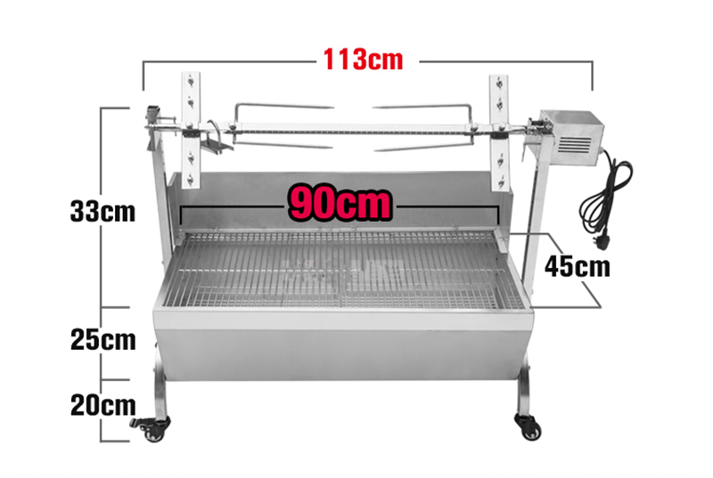 """Large Stainless Steel BBQ Spit Roaster Rotisserie 46/"""" Cooking Pig Lamb Chicken"""