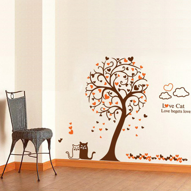 Diy Wall Art Cat Sticker Love Kitty Bedroom Decor Heart Tree Wall Stickers For Shelf Wall