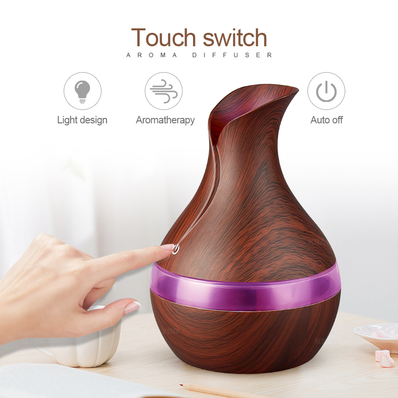 LED Lights 300ml USB Electric Aroma Essential Oil Diffuser Ultrasonic Air Humidifier Wood Grain Aroma Diffuser For Home