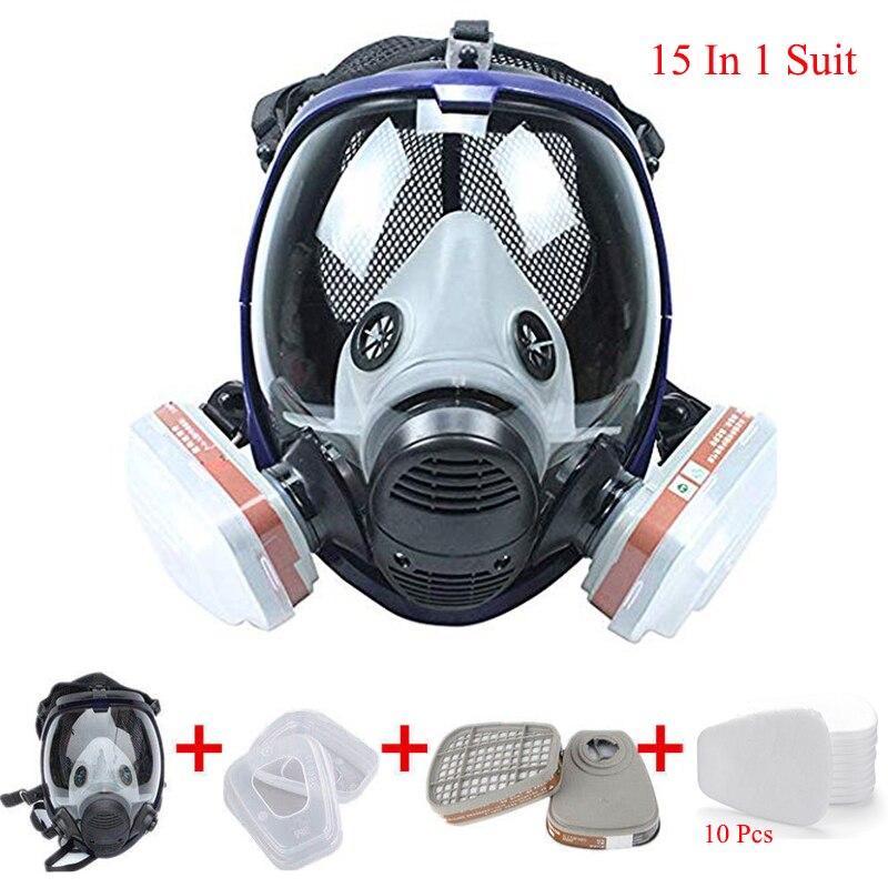 15 In 1 Anzug Organische Dampf Volle Gesicht Atemschutz Set Sicherheit Gas Maske Mit Visier Schutz Für Farbe Chemikalien Pestizide