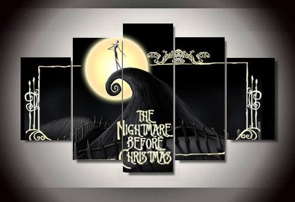 Unframed Printed the nightmare before christmas 5 piece painting - nightmare before christmas bedroom decor