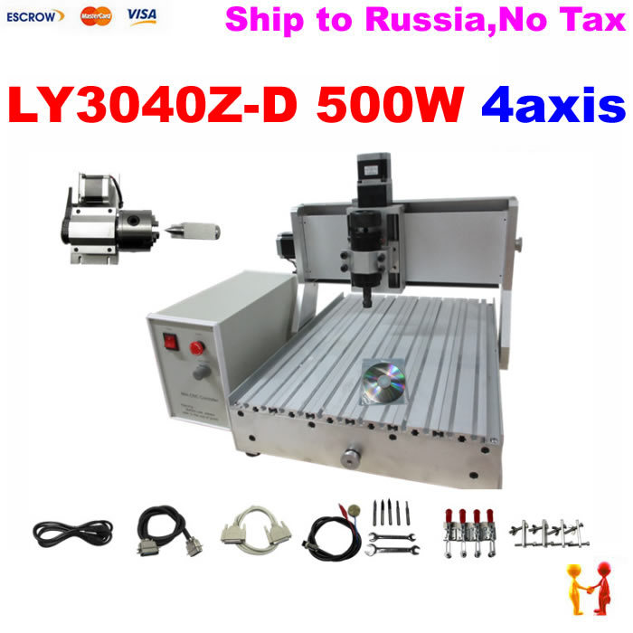 3D font b woodworking b font machine 4 axis cnc 3040 500W spindle with ball screw