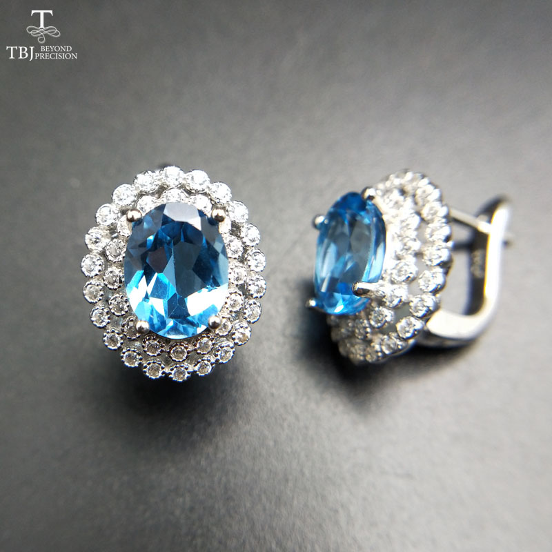 TBJ 2017 Clasp earring with natural swiss blue topaz in 925 sterling silver jewelry natural gemstone