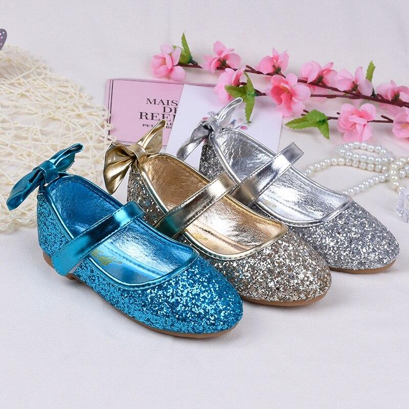 Kinder Kleid Schuhe Größe 24-35 Mädchen Pailletten Wohnungen Blau Silber Gold Farbe Bogen Knoten Design Prinzessin Tanzschuhe Casual Mokassins
