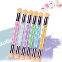 Double-ended Silicone Nail Brush Pen Reusable Plastic Sponge Head Colorful Rhinestones Drawing Manicure Tools Handle Brush reusable plastic silicone double eyelid maker pink pair