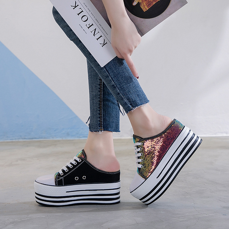 Women Vulcanize Shoes Fashion Canvas Shoes Casual platform wedges half slippers Lace-up Breathable Bling Ladies shoes PA-37