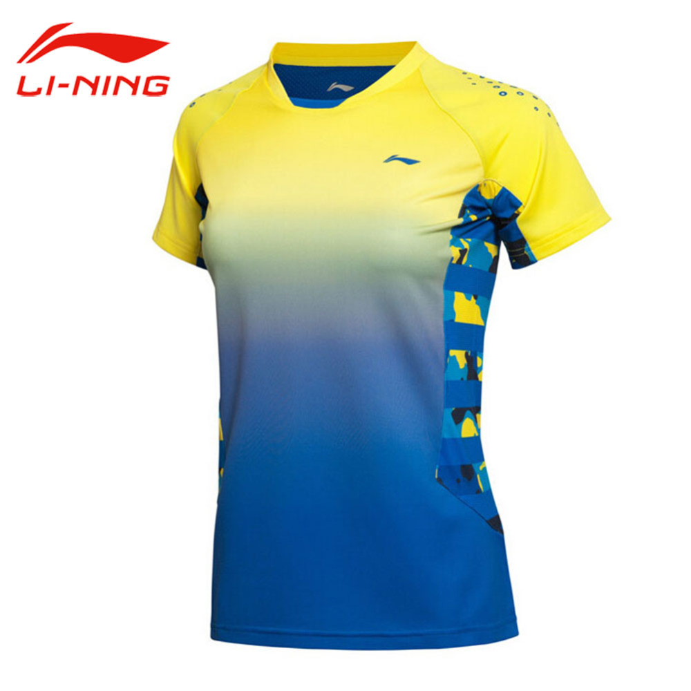 Li-Ning Women's Professional Badminton Jersey Breathable Gradients Color Quick Dry Short Li Ning Sleeve Sports Jersey AAYK128