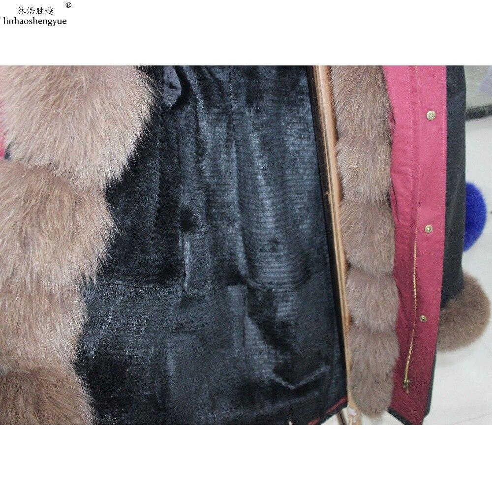 De Doublure Lapin Et Chaud black Mode Fourrure Renard green Avec Linhaoshengyue Manteau blue Hiver Femmes White UwzWAqWX