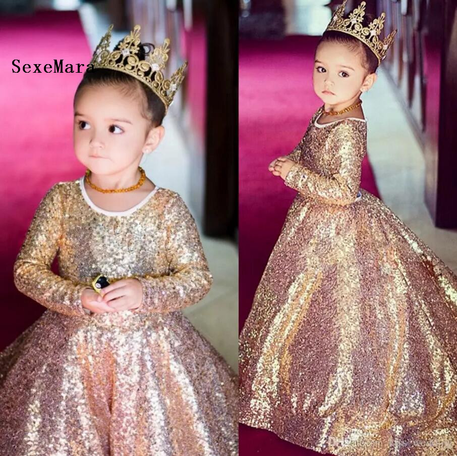 Luxury Champagne Gold Sequined Ball Gown Flower Girl Dresses O-Neck Long Girls Pageant Dress Graduation Christmas Gown  Luxury Champagne Gold Sequined Ball Gown Flower Girl Dresses O-Neck Long Girls Pageant Dress Graduation Christmas Gown