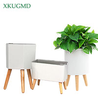 Intelligent Water absorbing Flower Pot Balcony Green Plant Automatic Water absorbing Potted Flower Rack Plastic Flower Pot