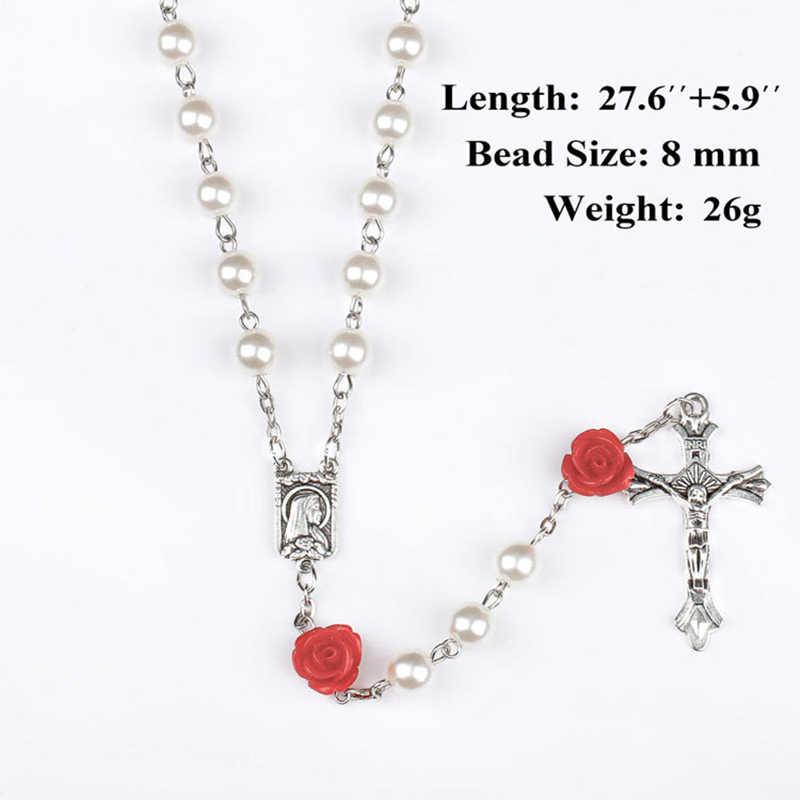 Imitazioni di Perle Rosa Rossa Perline Collana Del Rosario Cattolico Croce D'argento Lourdes Centro Cattolica Rosario Religioso Rosari Regalo