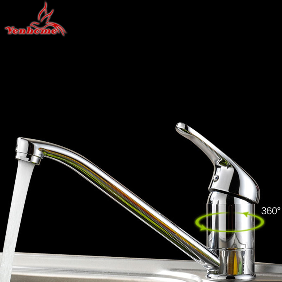 Yenhome Luxury Kitchen Faucet Drip Free Deck Mounted 360 Rotate Brass Kitchen Sink Faucet Hot and Cold Water Chrome Mixer Tap