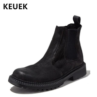 Spring Autumn Men boots Genuine Leather Slip On Chelsea Boots Outdoor Male Tooling shoes Ankle boots 02A