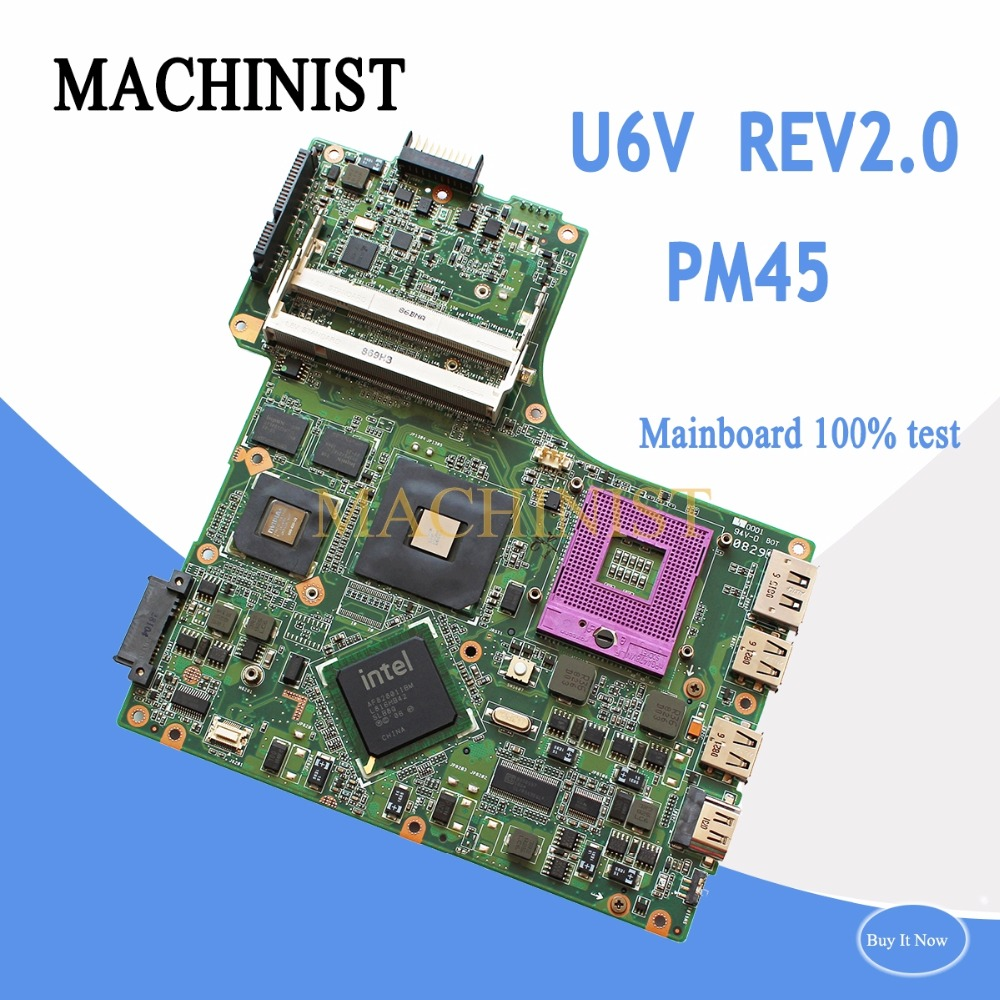 08G2006UV20R For ASUS U6V laptop motherboard REV2.0 PM45 PGA478 DDR2 9300M 08G2006UV20R 100% tested intact