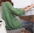 2014 новая горячая продажа женская весна лето осень три четверти puff рукавом выдалбливают шаль вязать свитера женщина свитер 7 цвета
