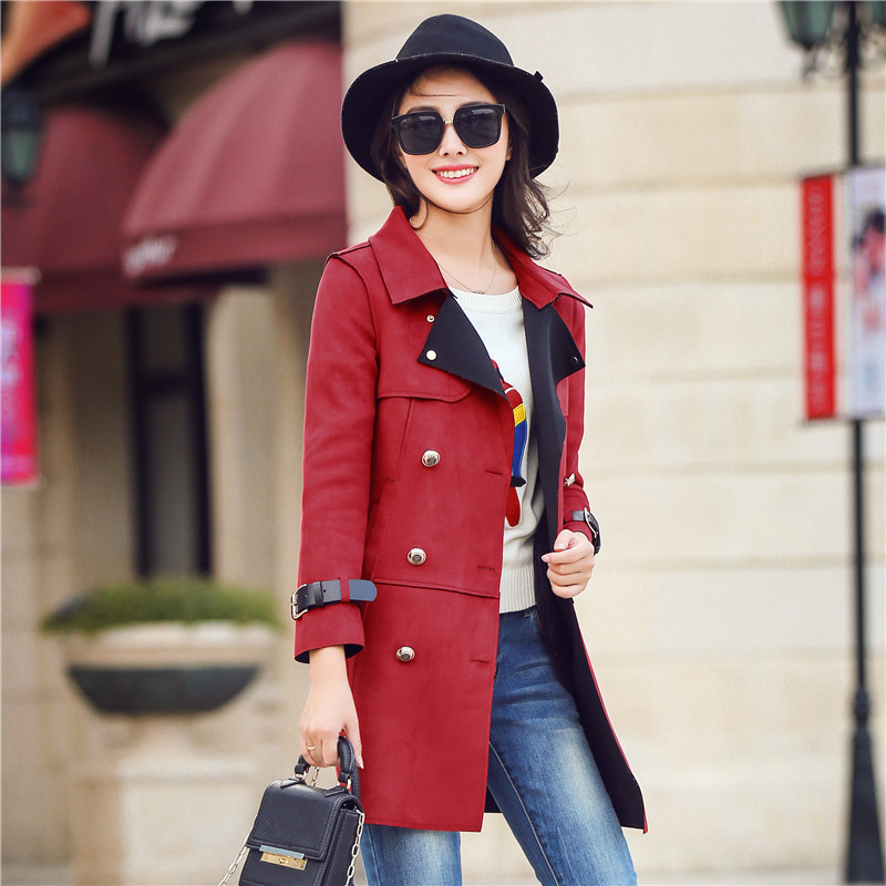 2017 fall in new Europe, plus size suit, double-breasted long slim slim suede jacket women's clothing