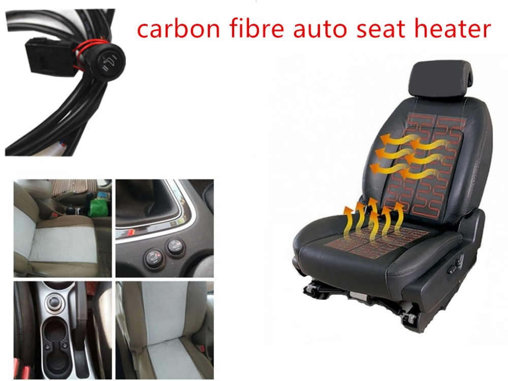 Seat heater switch with seat cushion pad carbon fiber for one seat heater install heating 12V