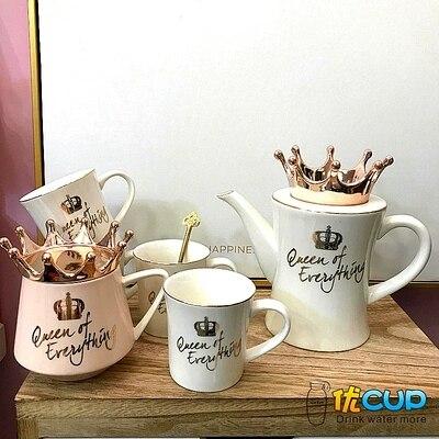 2019 nordique couronne Simple en céramique Teaware Set ménage eau tasse salon résistant eau chaude Pot fruits thé fabricant cadeau boîte