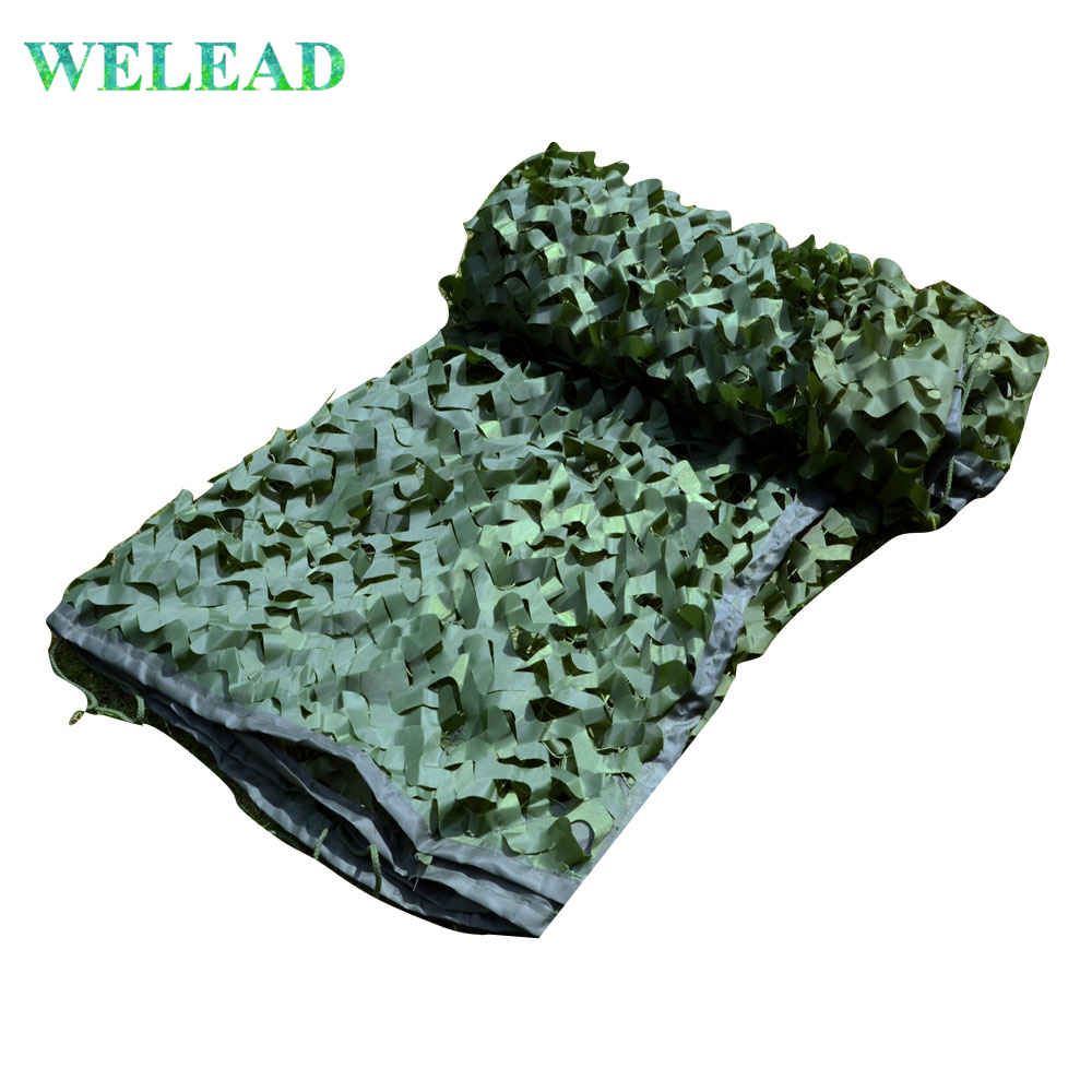 WELEAD 3.5x7m Reinforced Military Camouflage Net Green for Pergola Outdoor Awning Mesh Hide Shade Sun Shelter 3x7 3*7 4x7 4*7