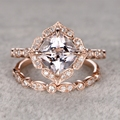 LASAMERO Vintage Halo Style Cushion Cut 2CT Morganite Gemstone Ring 8mm Morganite 10k Rose Gold Engagement Wedding Bridal Set