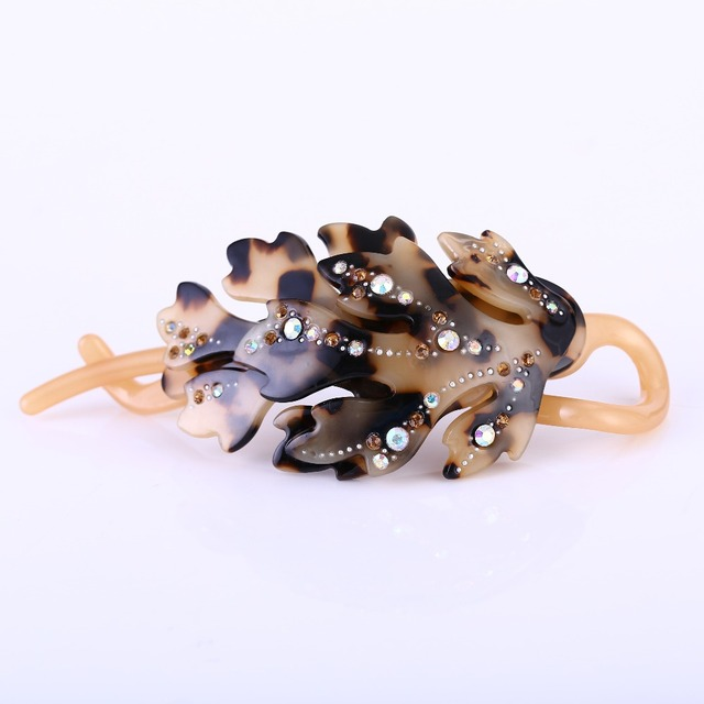 Buena leaves banana clip auger rhinestone twist hair pin to acetic acid Ponytail holder ornaments headdress Pin shaft clip SA034