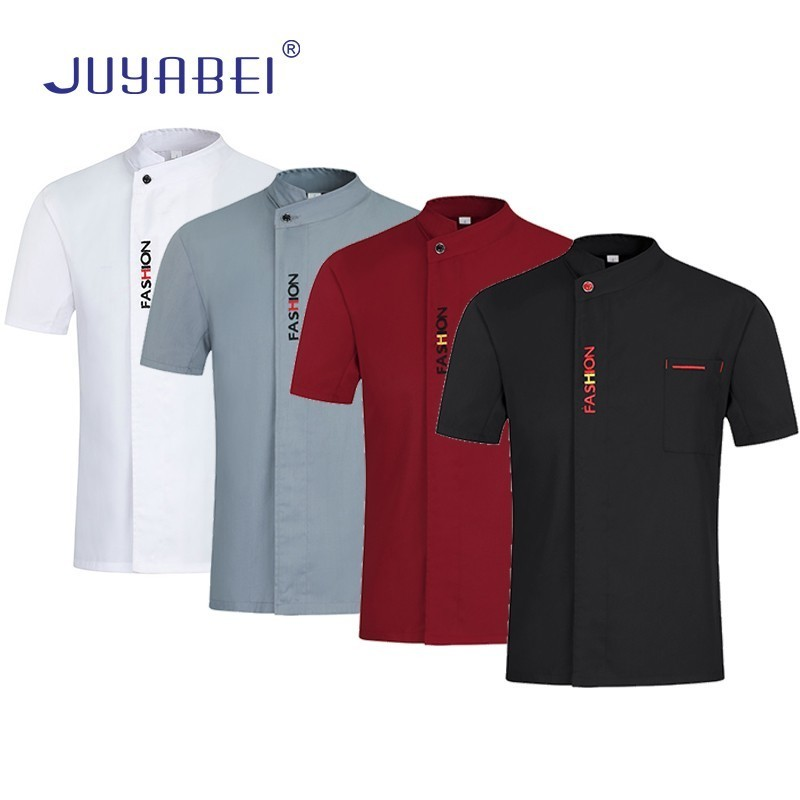 Summer Unisex English Letter Embroidery Short Sleeve Chef Uniform Restaurant Hotel Food Service Hairdressers Salon Work Jacket