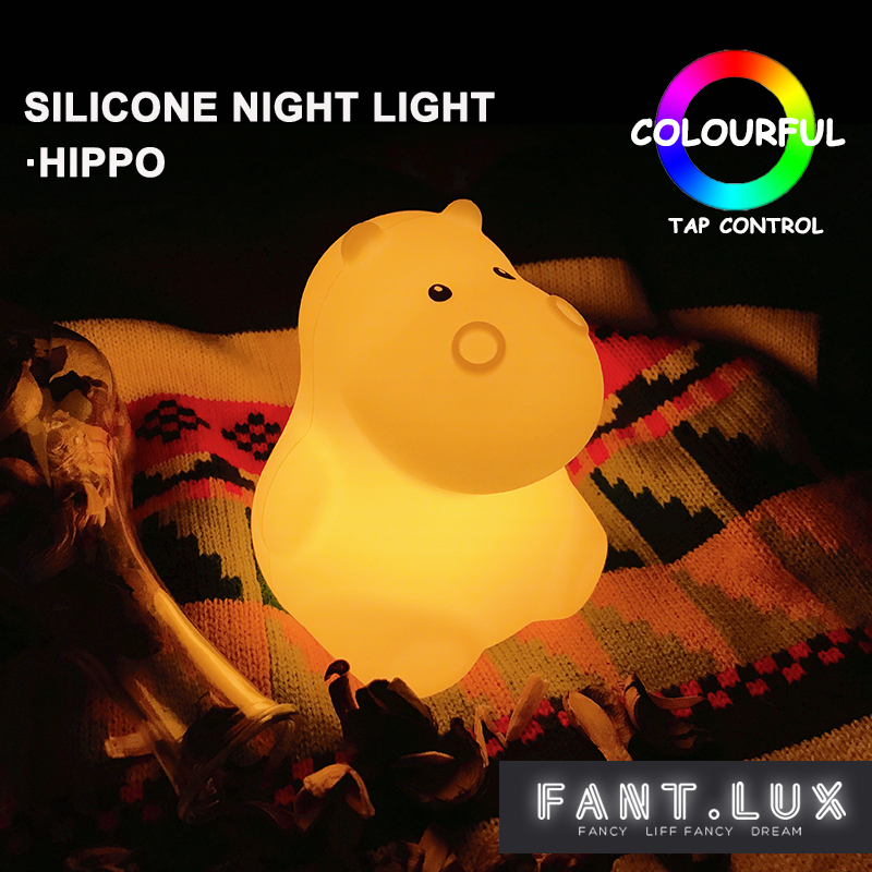 Lovely hippo cartoon silicone baby LED night light children toy lights bedroom decoration bedside night lamp gifts for kids lediary cute dinosaur led night light 3 colors decoration lamp warm white christmas night lights animal bedside lamp for kids