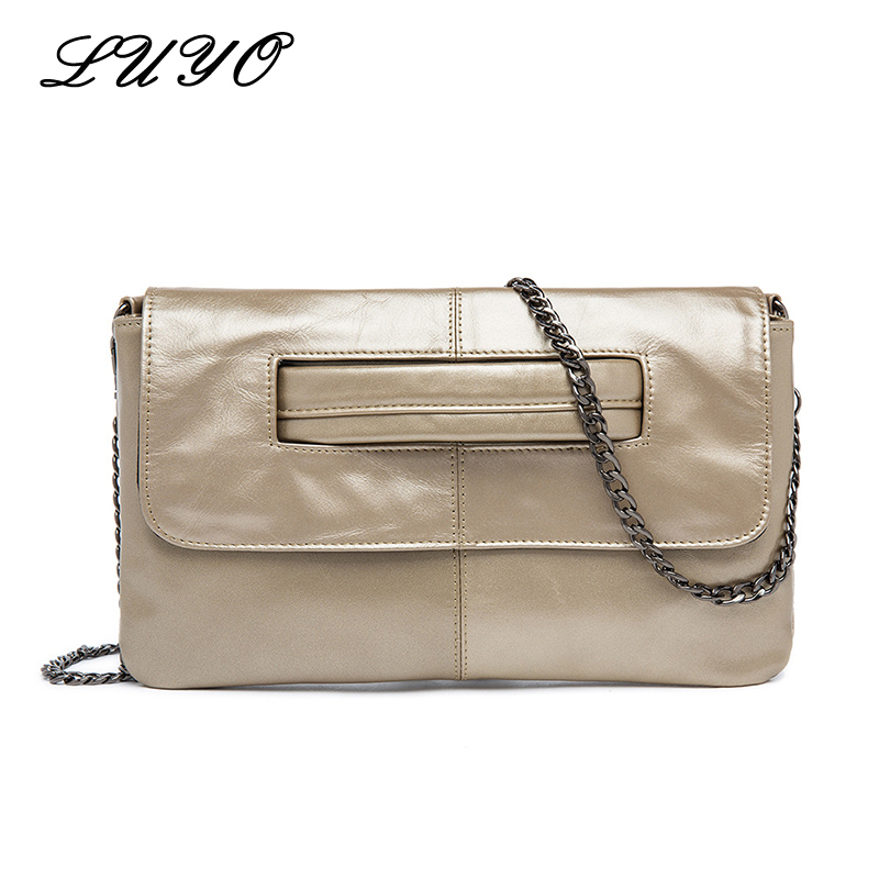 LUYO Genuine Leather Women's Envelope Clutch Bag Chain Crossbody Bags For Women Handbag Messenger Bag Ladies Clutches Wristlet fashion women s envelope clutch bag high quality crossbody bags for women trend handbag messenger bag large ladies clutches