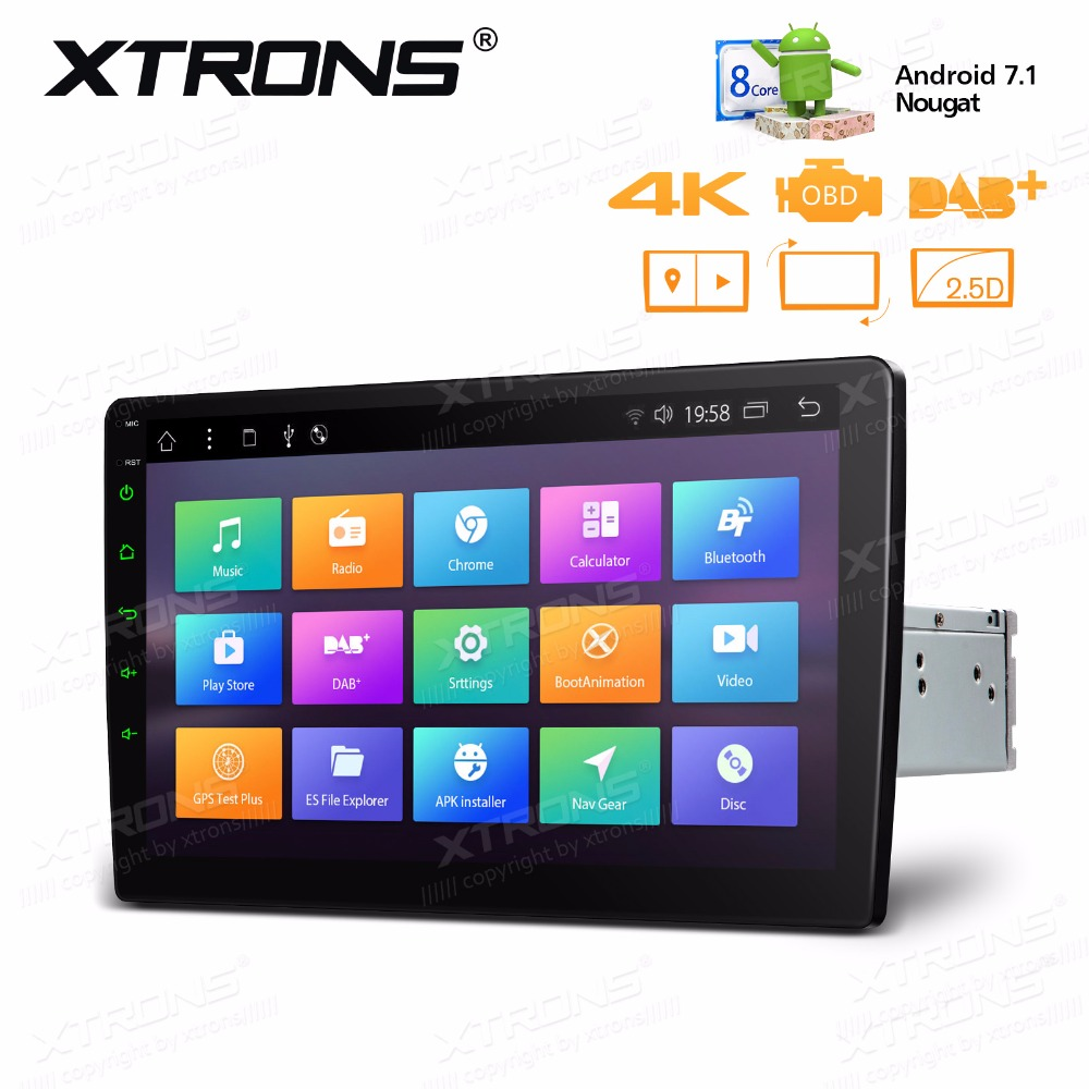 10.1 Android 7.1 Octa Core Radio 32GB Rotatable Face Panel 2.5D Curved Screen Car Stereo Player GPS OBD DVR 2 DIN No DVD image