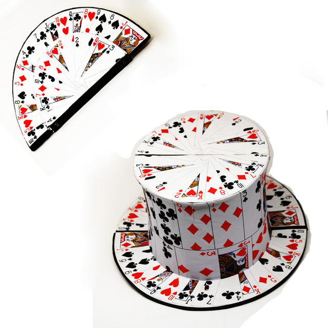 hot sale folding Card fan to top hat spring magic trick good quality magic hat 1pcs/lot  magic card magie illusion as seen on tv