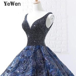 Image 5 - Sexy bleu Royal longue robe de soirée 2020 nouveauté Court Train perlé dentelle de noël Occasion spéciale robes de bal sur mesure